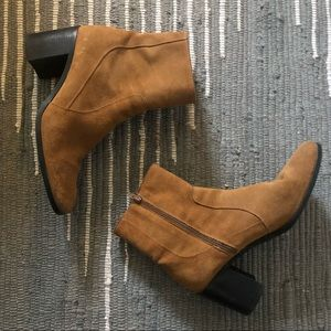 Zara Suede Boots With Chunky Heel